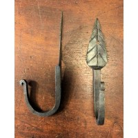 Leaf Hook - Hand Forged - Antique Iron - Ball End